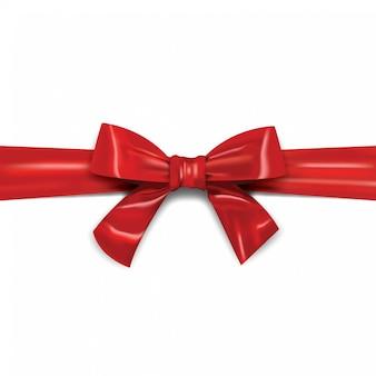 Декоративная горизонтальная красная лента с бантом