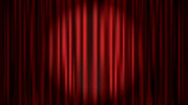 スポットライト、レトロな映画館、オペラ劇場ステージベクトルテンプレートに照らされた赤いカーテンの背景