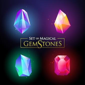 カラフルな光沢のある宝石用原石ベクトルイラストのセット
