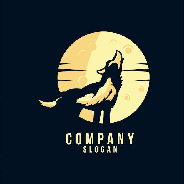 オオカミのシルエットのロゴデザイン