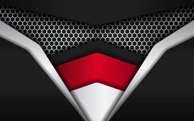深い効果と忍者の顔のような重なりを持つモダンな抽象的な六角形の背景