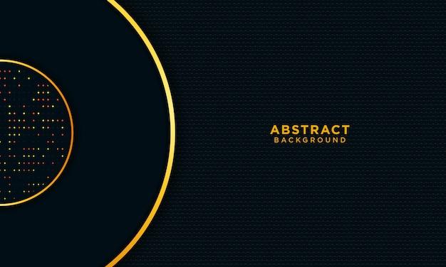 抽象的なゴールドの背景テクスチャ、円、光るダークブルー