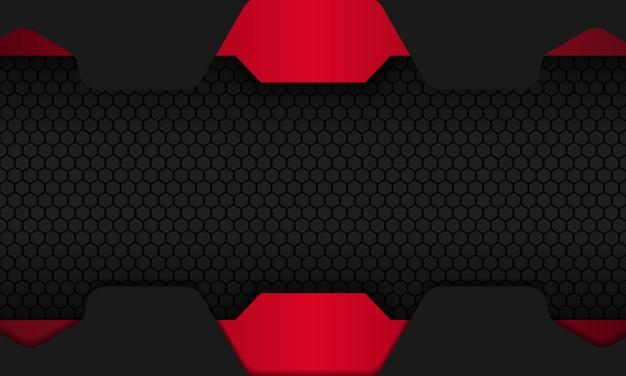 赤い重複レイヤーと暗い六角形の抽象的な黒の背景