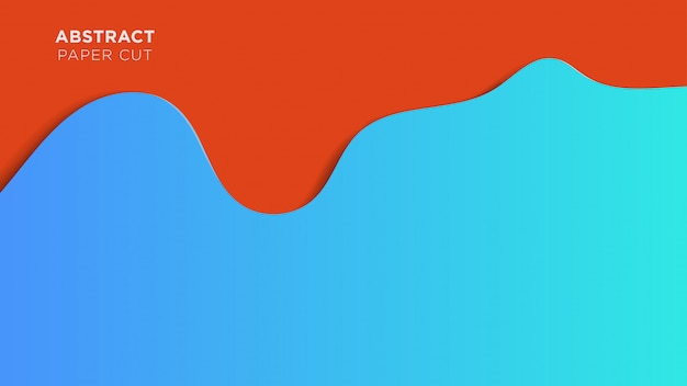 抽象的なペーパーカットの背景青と赤の流体重複デザイン