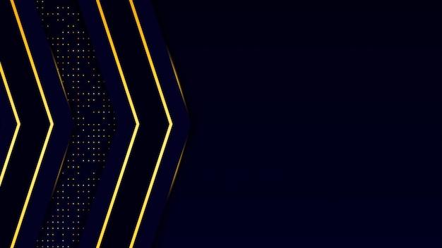 暗い青色の抽象的な背景の黒いオーバーレイレイヤー。ゴールデンサークルと光沢のあるラインとゴールドのキラキラドットプレミアム背景ベクトルの要素。