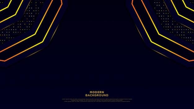 暗い青色の抽象的な背景の黒いオーバーレイレイヤー。ゴールデンサークルと光沢のあるラインとゴールドのキラキラドット高級背景ベクトルの要素。