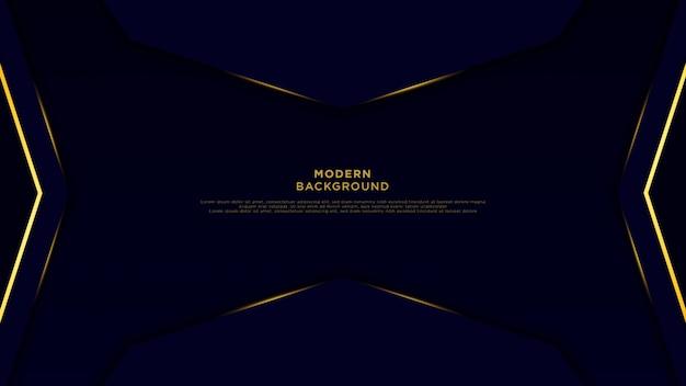 濃い青の抽象的な背景の黒の重複するレイヤー。金色の矢印と豪華な背景のベクトルに光沢のあるライン。