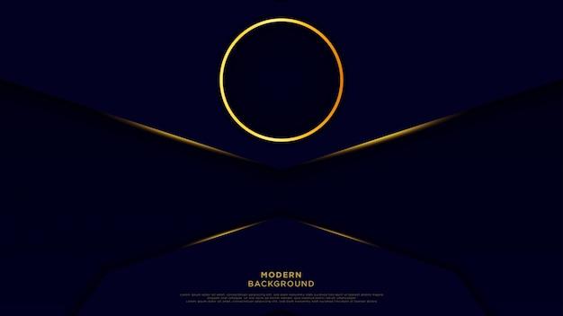 濃い青の抽象的な背景の黒の重複レイヤー。ゴールデンサークルと光沢のあるラインの豪華な背景のベクトル。