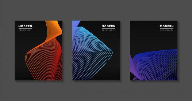 モダンなカバーテンプレートデザイン。未来的なアートライングラデーション