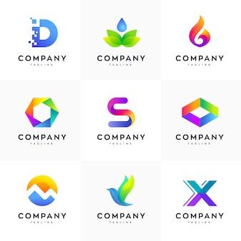 モダンなロゴデザインテンプレートセット、抽象的なロゴセット、カラフルなロゴセット、ミニマリストのロゴデザインテンプレート