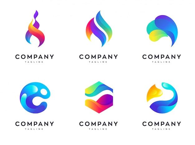 カラフルな波のロゴデザインテンプレートセット、抽象的なカラフルな波のデザインテンプレート