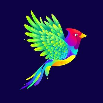 グラフィックのカラフルな飛んでいる鳥のイラスト