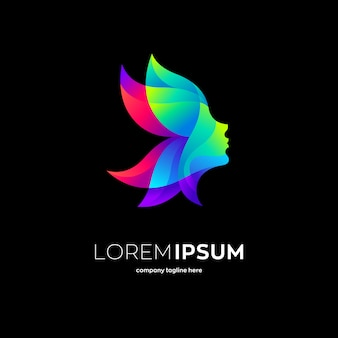 Шаблон логотипа лица природной красоты