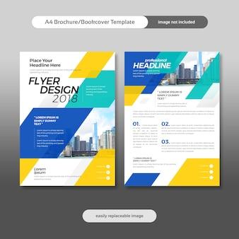 Деловая брошюра, флаер, дизайн обложки с фоном города и геометрическими формами