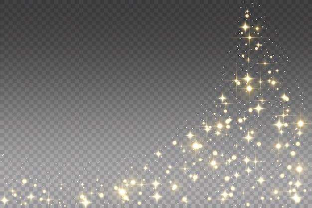 Золотая сверкающая падающая звезда.