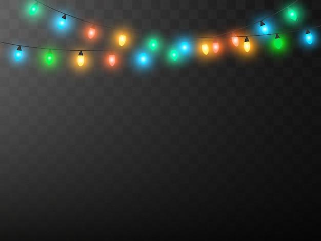 Рождественские огни изолированы, реалистичные гирлянды