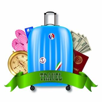 Иллюстрация путешествия с чемоданом компасом и деньгами