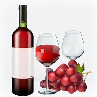 赤ワイン。メガネ、瓶、ぶどう。