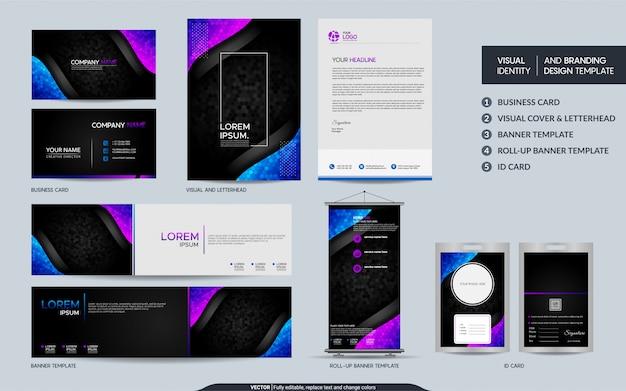 Современная канцелярская бумага и визуальный набор фирменного стиля.