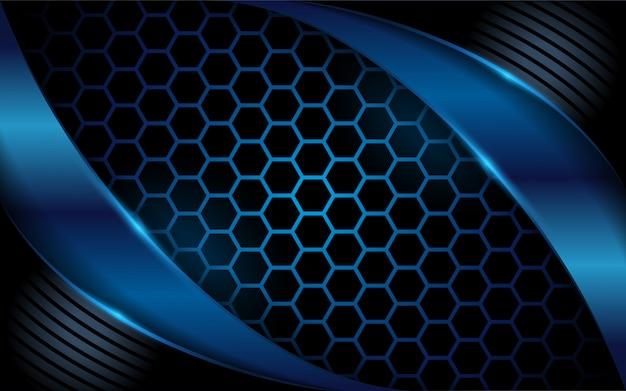 六角形のダークブルーの抽象的な背景