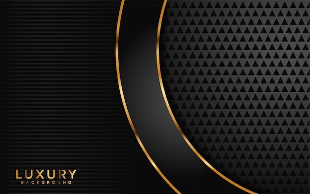金色の線の背景を持つ豪華なダークブラック