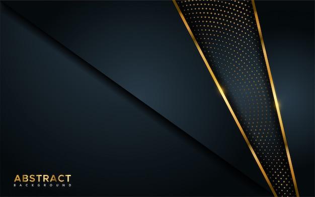 Абстрактная роскошная темная предпосылка с золотыми линиями и круговыми накаляя комбинациями золотых точек.