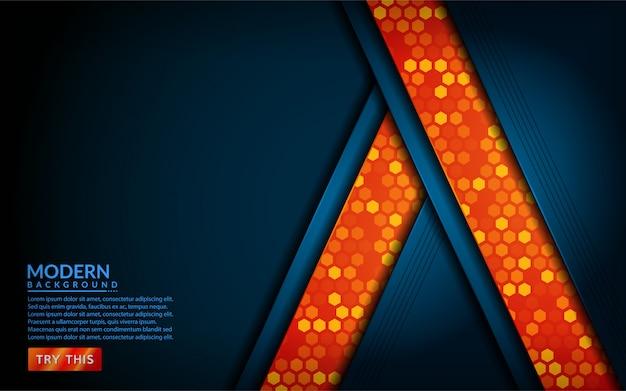 Современный технический синий комбинат с оранжевым фоном