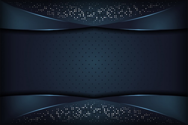濃い青の織り目加工のレイヤーオーバーラップの背景