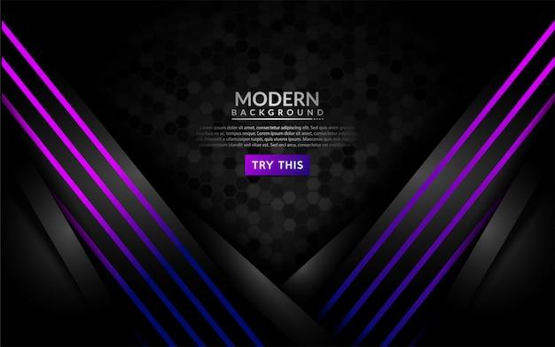 光沢のある紫色のラインとモダンな暗い背景。