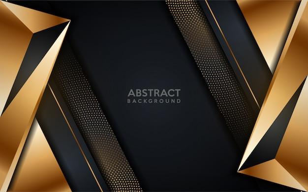 ゴールドドット要素と輝く黄金のモダンな暗い背景。