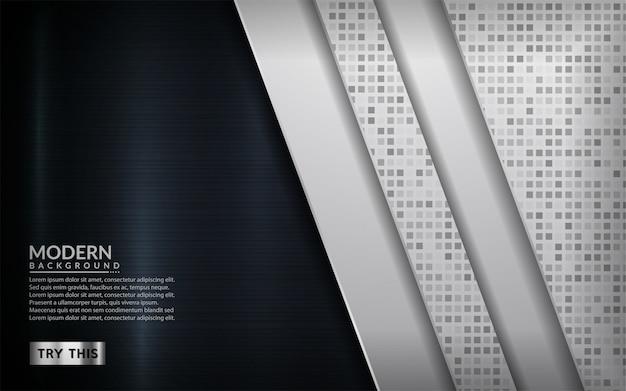 Современный белый в сочетании с металлическим темным фоном.