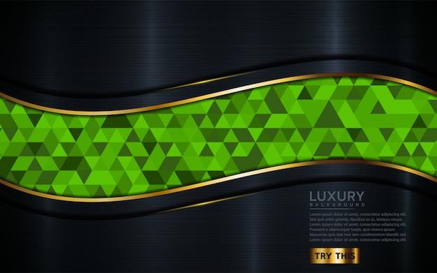 緑のモザイクと豪華な暗い背景。