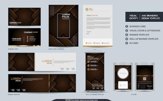 豪華な茶色の文房具は、抽象的な重複レイヤーの背景を持つセットと視覚的なブランドアイデンティティをモックアップします。