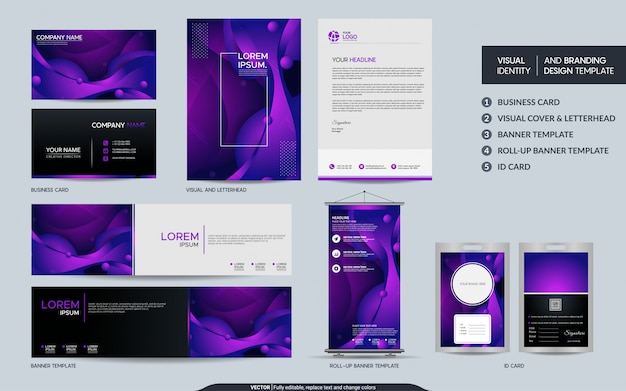 モダンな紫の文房具セットと抽象的なカラフルな動的背景図形と視覚的なブランドアイデンティティ。