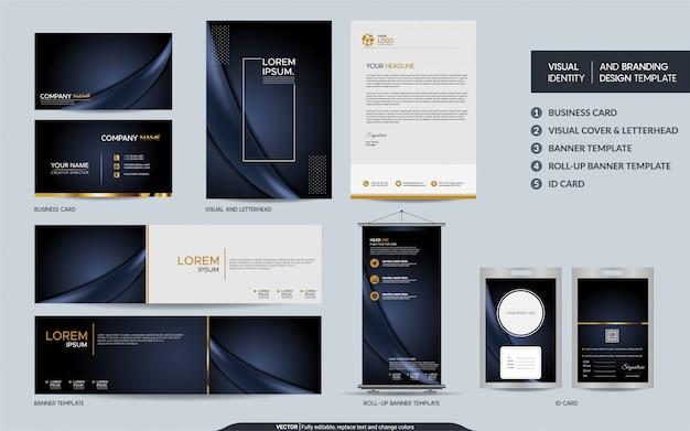 Роскошный темный темно-синий канцелярский набор и визуальная идентификация бренда с абстрактным фоном слоев наложения
