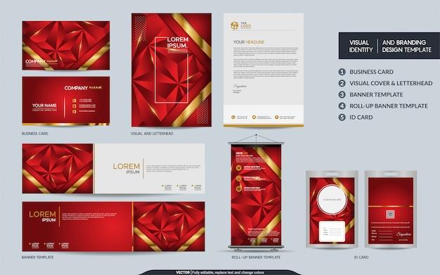 Современный красный полигональный набор макетов канцелярских товаров и визуальная идентификация бренда с абстрактными слоями перекрытия