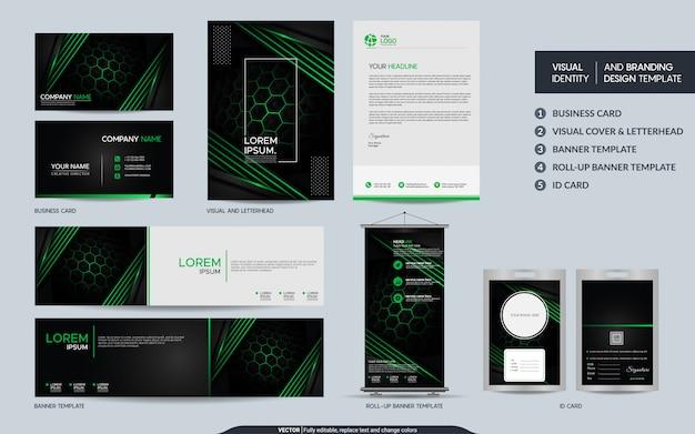 モダンなブラックグリーンの文房具セットと視覚的なブランドアイデンティティ