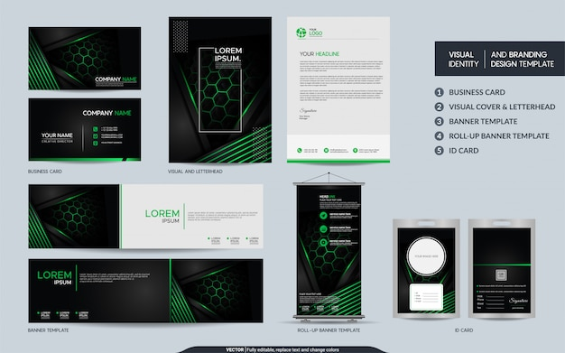 Современный чёрно-зелёный набор канцелярских товаров и визуальная идентификация бренда