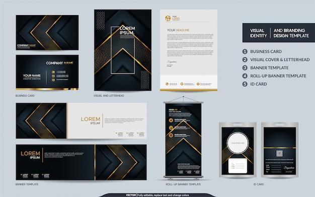 高級ブラックゴールド文房具セットと抽象的な重複レイヤーの背景を持つ視覚的なブランドアイデンティティ