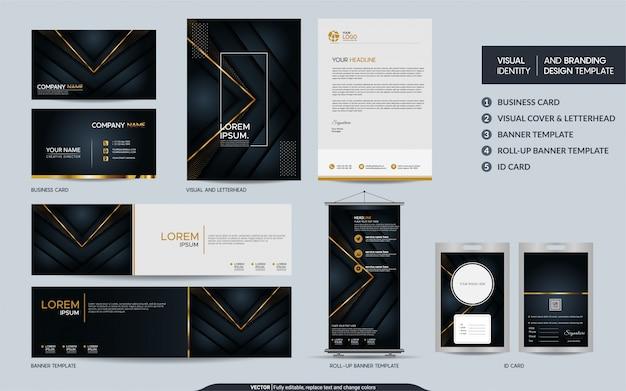 高級ブラックゴールドの文房具ブランドセットと抽象的なオーバーラップレイヤーを備えた視覚的なブランドアイデンティティ