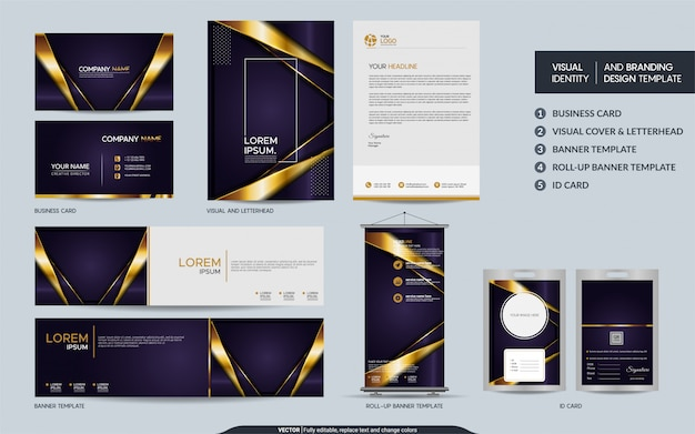 Роскошный фиолетовый фирменный набор канцелярских товаров и визуальный образ бренда с абстрактными слоями внахлест