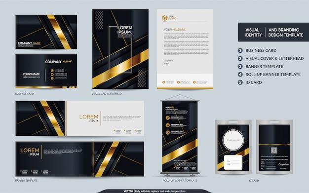 Набор канцелярских принадлежностей класса люкс из черного золота и визуальная идентификация бренда с абстрактным наложением слоев.