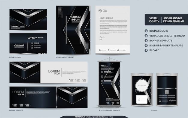 豪華な黒と銀の文房具セットと抽象的な重複レイヤーの背景を持つ視覚的なブランドアイデンティティ