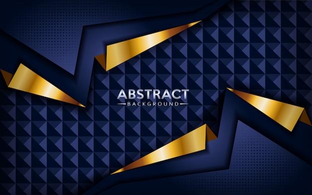 金色のラインとモダンな抽象的な暗いネイビーブルーの背景。