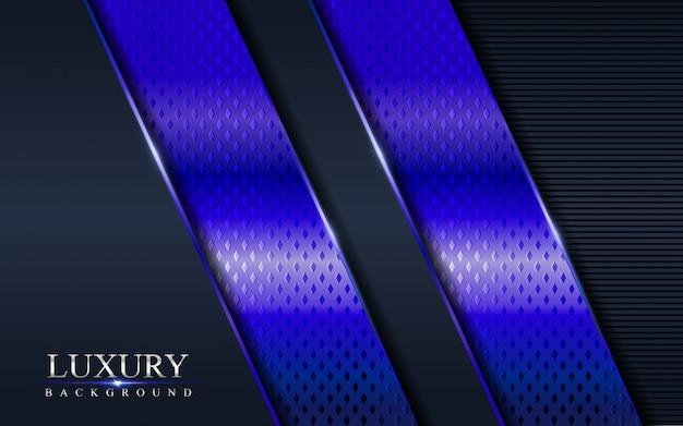 紫青テクスチャオーバーラップレイヤーの抽象的な背景を持つ高級ダークネイビー