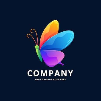蝶のカラフルなロゴデザイン