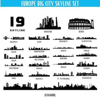 ヨーロッパの大きな街のスカイラインのシルエットセット