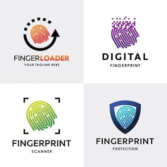 指紋ロゴセットデザインテンプレートのコレクション