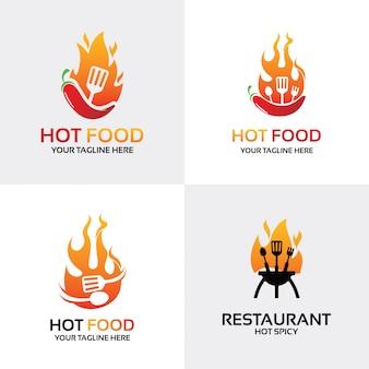 ホットフードのロゴセットデザインテンプレートのコレクション