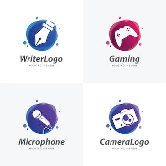 趣味のロゴデザインテンプレートのセット